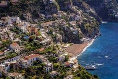 波西塔诺,阿马尔菲海岸的,意大利 免版税库存图片