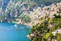 波西塔诺,阿马尔菲海岸,意大利看法  免版税图库摄影