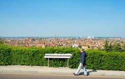 波隆纳游览鸟瞰图观光伊米莉亚罗马甘全景标志 库存照片