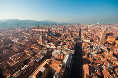 波隆纳都市风景,意大利。 库存照片