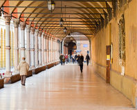 波隆纳,一点红Romana地区,意大利典型拱廊  2016年2月26日 库存图片