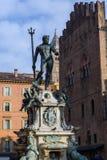 波隆纳,意大利,海王星雕象  免版税库存照片