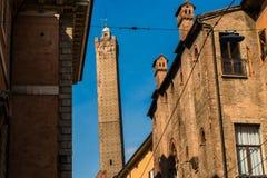 波隆纳,意大利- 2017年10月:街道的看法在老城波隆纳,意大利 库存照片