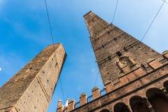 波隆纳,意大利- 2017年10月:街道的看法在老城波隆纳,意大利 免版税库存照片