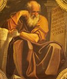 波隆纳,意大利- 2018年4月18日:先知耶利米绘画在教会基耶萨di圣Benedetto里贾科莫Gavedoni 免版税库存照片