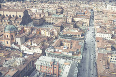 波隆纳,意大利- 2016年3月05日, :街市st的全视图 库存照片