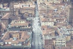 波隆纳,意大利- 2016年3月05日, :街市st的全视图 图库摄影