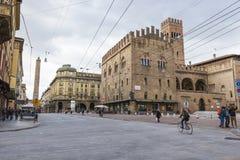 波隆纳,意大利- 2016年3月05日, :街市str的全视图 库存图片