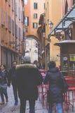 波隆纳,意大利- 2016年3月05日, :街市str的全视图 免版税图库摄影