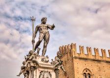 波隆纳,意大利-海王星雕象  免版税库存照片