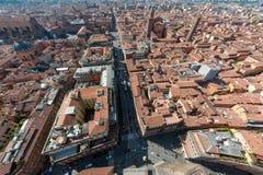 波隆纳,波隆纳,意大利地平线从Asinelli塔的 图库摄影