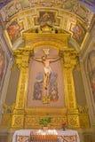 波隆纳-在十字架上钉死教堂由安东尼奥Levanti (1662)教会圣米谢勒的在博斯科 免版税库存照片