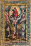 波隆纳-天使迈克尔和圣Dominic和圣弗朗西斯和耶稣Pantokrator在教会基耶萨di圣多梅尼科里 库存图片