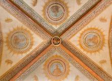 波隆纳-天花板巴洛克式的教会圣Girolamo della certosa的og教堂中殿 免版税库存图片