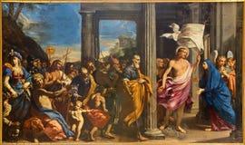 波隆纳-战胜基督和圣徒劳伦斯Pasineli (1657)巴洛克式的教会圣Girolamo della certosa长老会的管辖区的  免版税库存照片