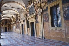 波隆纳Archiginnasio。 伊米莉亚-罗马甘。 意大利。 库存图片