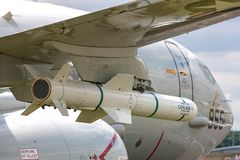 波音麦克唐纳-道格拉斯公司AGM-84鱼叉对船导弹 CATM-84D是俘虏运载训练导弹 库存图片