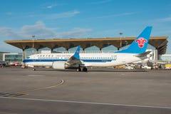波音737-8南部最大的中国,机场普尔科沃,俄罗斯圣彼德堡 2018年6月02日 库存照片
