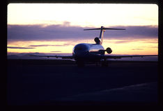波音727是中等大小狭窄身体三引擎喷气机 免版税图库摄影
