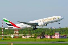 波音777酋长管辖区,机场普尔科沃,俄罗斯圣徒Peterburg 2014年5月19日 库存照片