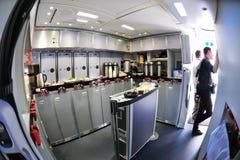 波音787 Dreamliner的后方船上厨房在新加坡Airshow 2012年2月 库存图片