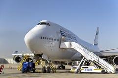 波音747 4X-ELH —以色列航空公司以色列航空公司飞机在本顾 免版税库存照片