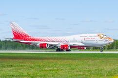 波音747 Rossiya航空公司老虎飞行,机场普尔科沃,俄罗斯圣彼德堡2017年5月 免版税库存图片