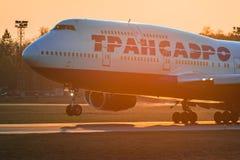 波音747-400 Transaero航空公司 库存照片