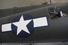 波音B-17飞行堡垒midship枪和星 图库摄影
