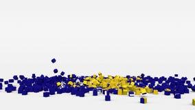 波黑的旗子从3d立方体创造了在慢动作 股票视频