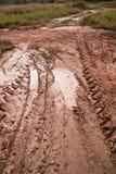 泥和轮胎轨道 免版税库存照片
