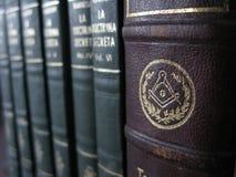泥工旧书和秘密教条 库存照片