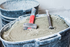 泥工的工具 免版税库存照片