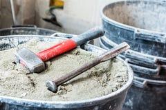 泥工的工具 库存图片