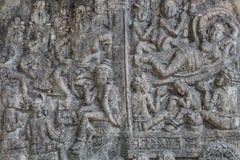 水泥手工造泰国浅浮雕的样式 免版税库存图片