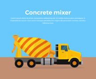 水泥搅拌车卡车横幅平的设计传染媒介 免版税库存照片