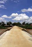 水泥桥梁在老挝村庄 库存图片
