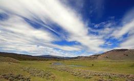 泥沼小河看法在触毛积云cloudscape下的在黄石国家公园Lamar谷在怀俄明 库存照片