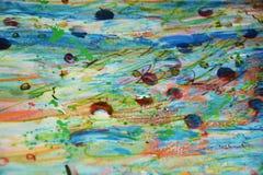 泥泞的五颜六色的桃红色黄色蓝色闪耀的斑点,蜡状的背景,创造性的设计 图库摄影