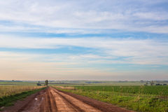 泥泞的农场马路 库存照片