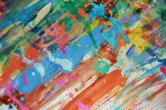 泥泞的桃红色蓝色蜡状的watercor斑点,创造性的设计 库存照片