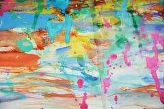 泥泞的桃红色蓝色黄色蜡状的watercor斑点,创造性的设计 图库摄影