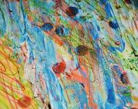 泥泞的桃红色黄色蓝色闪耀的斑点,蜡状的背景,创造性的设计 图库摄影