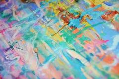 泥泞的绿色桃红色蓝色黄色淡色watercor斑点,创造性的设计 免版税库存图片