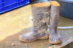 泥泞的胶靴 免版税库存照片