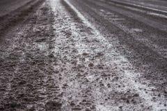 泥泞的路视图 免版税库存照片