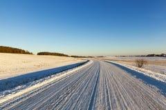 泥泞的路,冬天 免版税库存照片