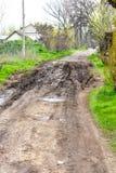 泥泞的路 库存照片