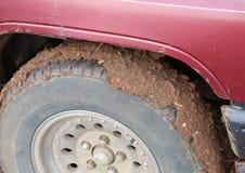 泥泞的轮子 库存图片