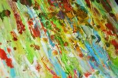 泥泞的金黄蜡状的绿色油漆摘要背景 库存图片
